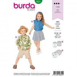 Patron Burda Style 9321 Chemise pour Enfants de 3 à 8 ans