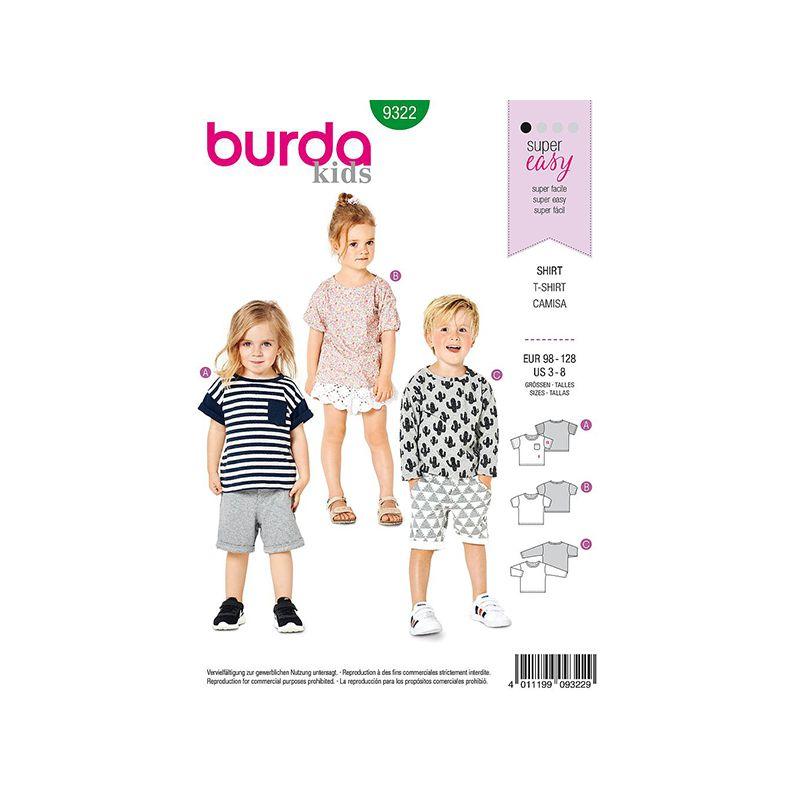 Patron Burda Style 9322 T-shirt pour Garçon de 3 à 8 ans