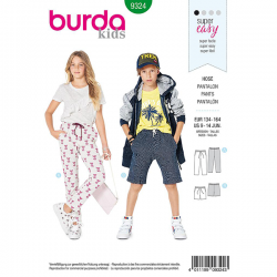 Patron Burda Style 9324 Pantalon et Short pour Enfants de 9 à 14 ANS
