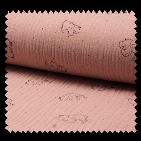 Tissu Bambino Imprime Elephant Rose