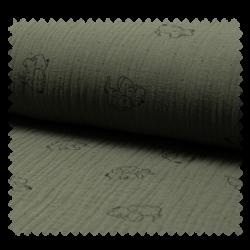 Tissu Bambino Imprime Elephant Kaki