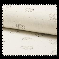 Tissu Bambino Imprime Elephant Ecru