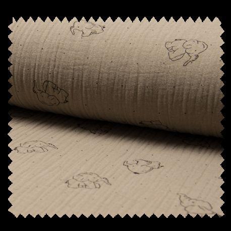 Tissu Bambino Imprime Elephant Taupe