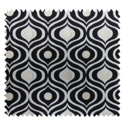 Tissu Majo Jacquard Noir Blanc