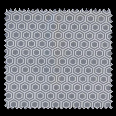 Tissu Hex Cretonne Blanche et grise