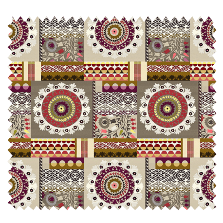 Tissu Jacquard Ouzbek Patch Corail