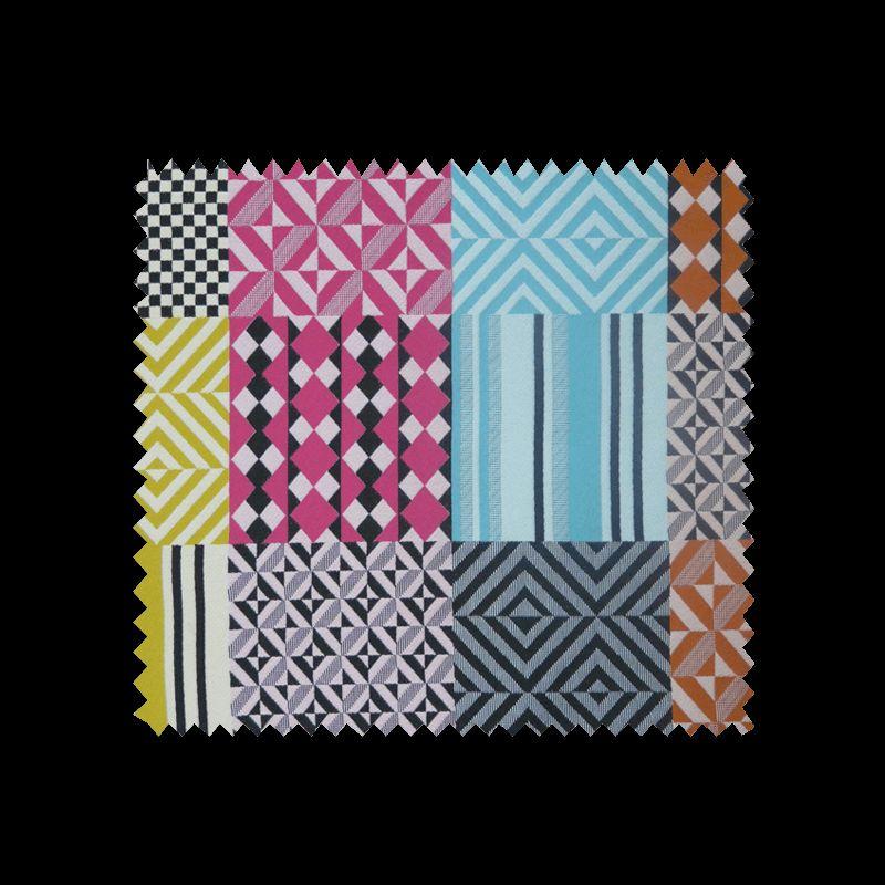 Tissu Jacquard Scenario Patch Géométrique Multicolore