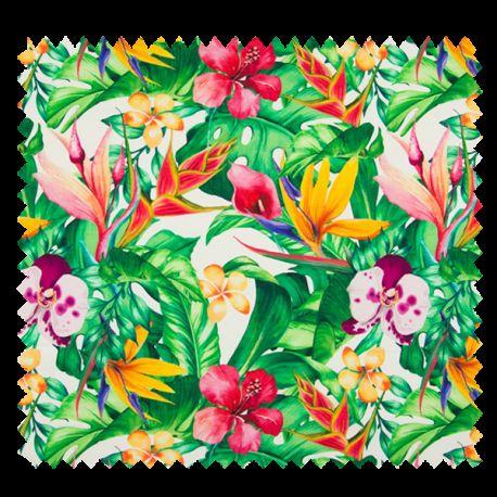 Tissu Digital Jungle Blanc