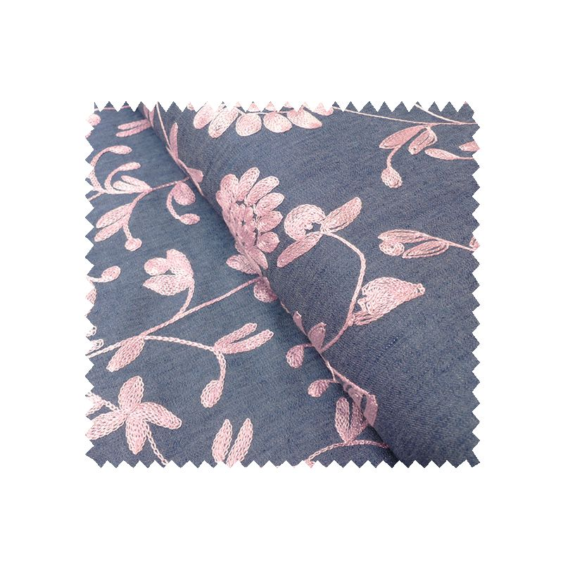 Tissu Chambray Brode rose