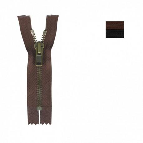 Fermeture Metal Bronze Non Séparable Modifiable de 25 à 100cm