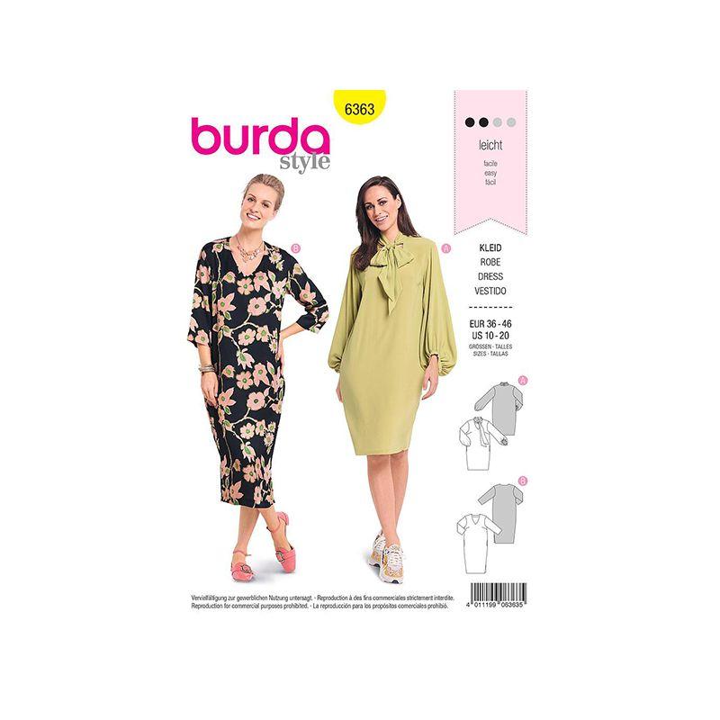Patron Burda 6363 Robe Dame 36/46