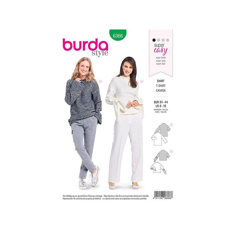 Patron Burda 6366 T-shirt Dame 34/44