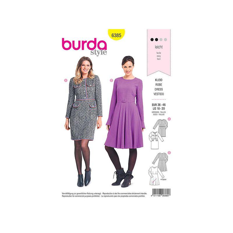 Patron Burda 6385 Robe Dame 36/46