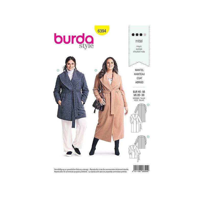 Patron Burda 6394 Manteau Pour Dames 46/56