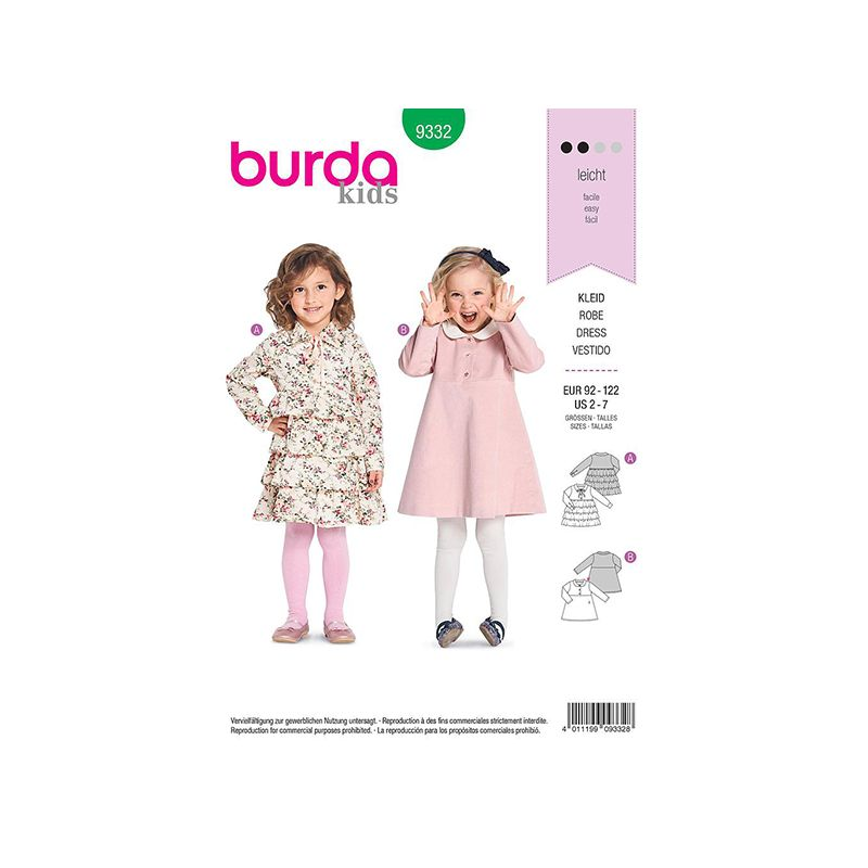 Patron Burda Kids 9332 Robe Fillette 92/122