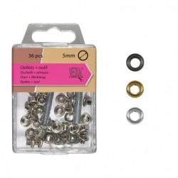 Petits Oeillet 5mm + Outil - 3 coloris disponibles