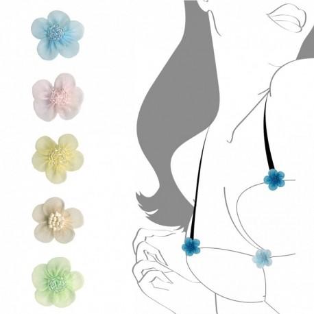 Fleur mousseline avec perle