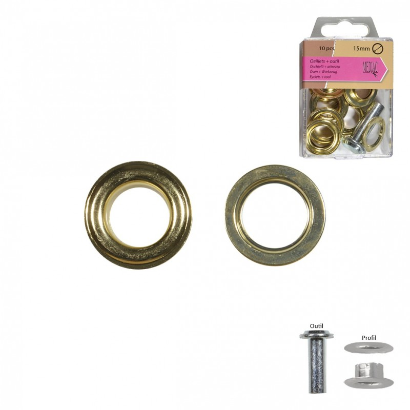 Gros Oeillets 15mm + Outil