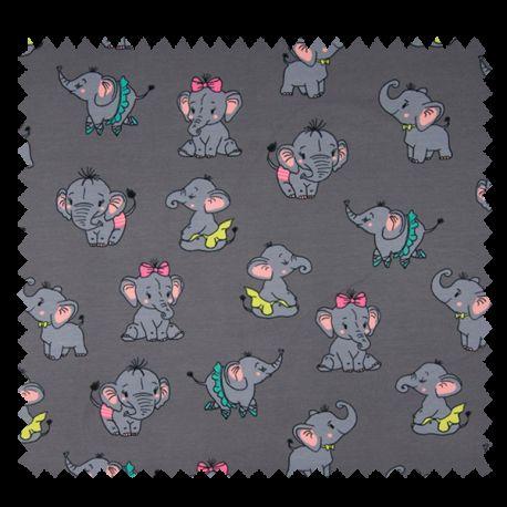 Tissu Jersey Coton Imprime Elephant Gris