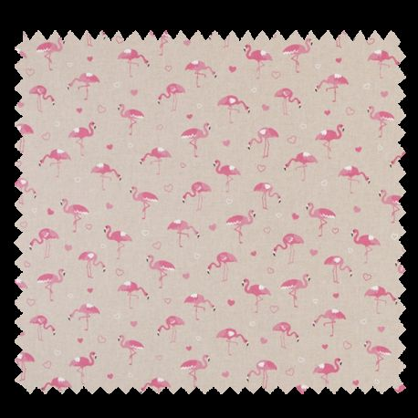 Tissu Flamants Coloris Rose et Lin
