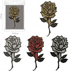Ecusson Xl rose pailletée 5x11cm
