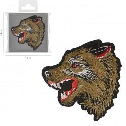 Ecusson Xl loup brodé 8x7,5cm