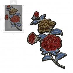 Ecusson Xl fleurs brodées 9,5x17,5cm