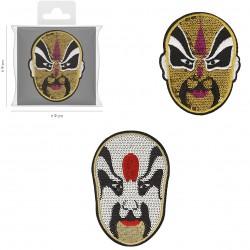 Ecusson Xl masques pailletés 6,5x8,5
