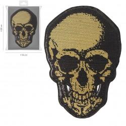 Ecusson Xl tête de mort pailletée 15x21cm