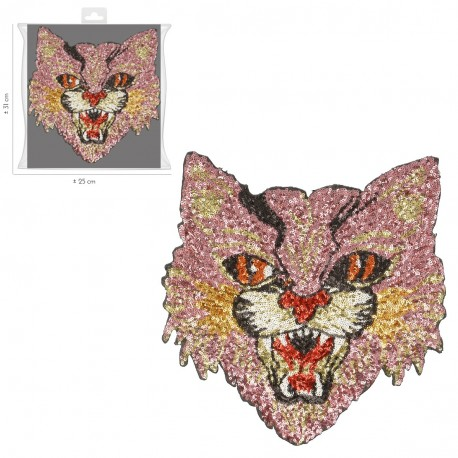Ecusson Xl patch chat Sequin Thermocollant