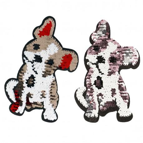 Ecusson Xl patch chien sequins Réversibles