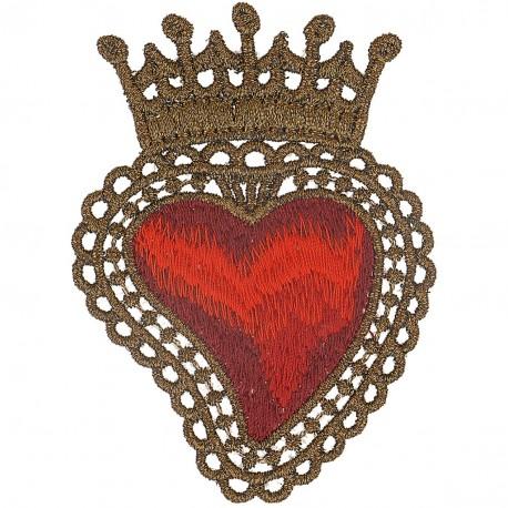 Ecusson Xl patch coeur couronne