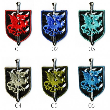 Ecusson Blason dragon 6x3,5cm
