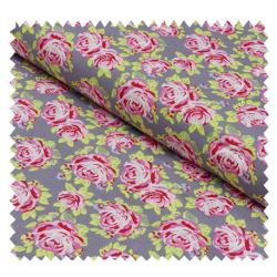 Tissu Coton Imprime Rose Fond Anthracite