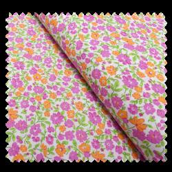 Tissu Coton Imprimé Fleurs Violettes et Orange