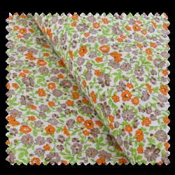 Tissu Coton Imprimé Fleurs Orange et Vertes
