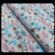 Tissu Coton Imprimé Fleurs Bleues sur Fond Gris