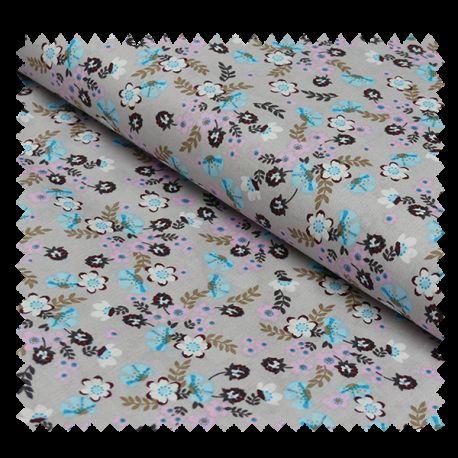 Tissu Coton Imprimé Fleurs Bleues et Rose