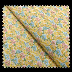 Tissu Coton Imprimé Fleurs Jaunes et Bleues