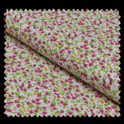Tissu Coton Imprime Fleurs Rose et Vertes