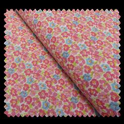 Tissu Coton Imprimé Fleurs Fuchsia et Bleu