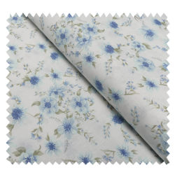 Tissu Coton Imprimé Fleurs Bleues sur Fond Blanc