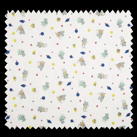 Tissu Jersey Coton Imprimé Souris Blanc