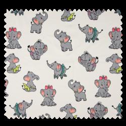 Tissu Jersey Coton Imprimé Elephant Ecru