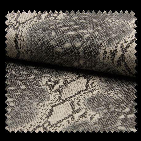Tissu Simili Cuir Imprimé Serpent Gris