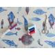 Tissu Poissons Coloris Bleu et Lin