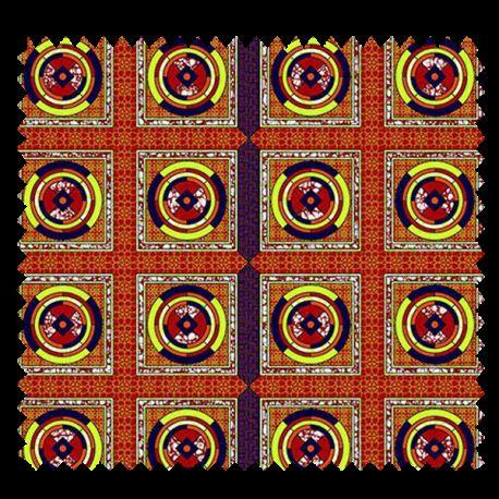 Tissu Super Wax Cercle Rouge Vert Marine sur Fond Rouge