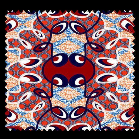 Tissu Super Wax Orange Rouge Bleu Noir