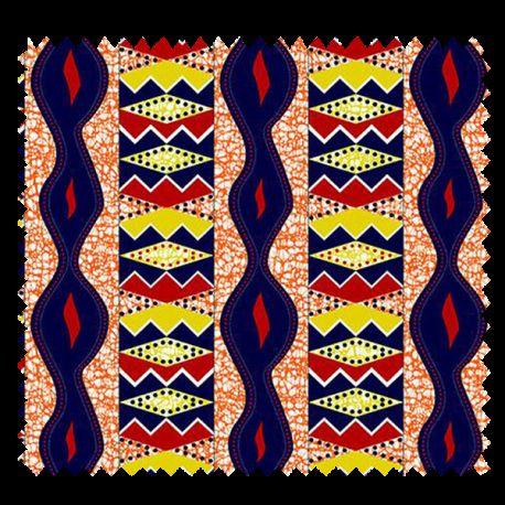Tissu Super Wax Orange Jaune Marine