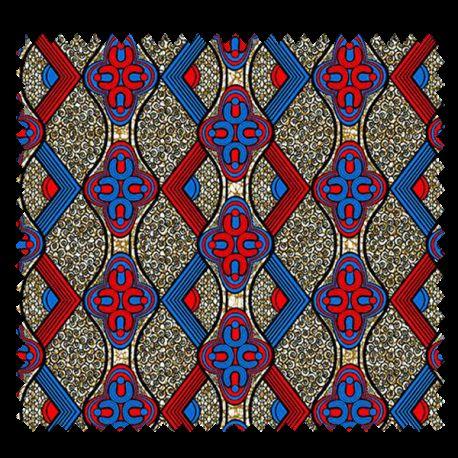 Tissu Super Wax Rouge Bleu Marron
